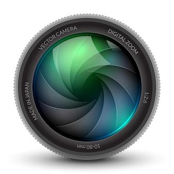 Фото фокус затвора камеры изолировал отбортовку объектива дизайна. затворная фотокамера с зумом.