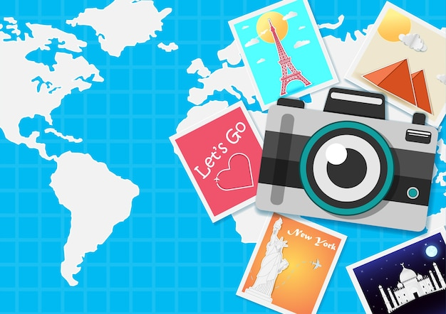 세계 개념 주위에 카메라 여행.