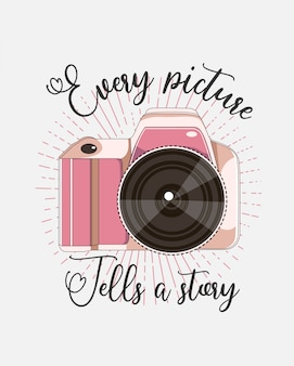 Camera vector with quote for t shirt design