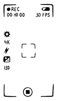 スマートフォン画面のカメラファインダーアプリケーションインターフェースムービーモード落書きスタイルのスケッチ