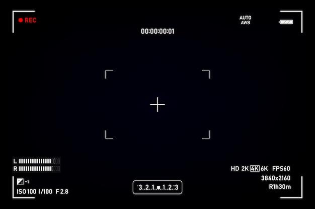 カメラのファインダーファインダーカメラの記録黒い背景にビデオ画面。