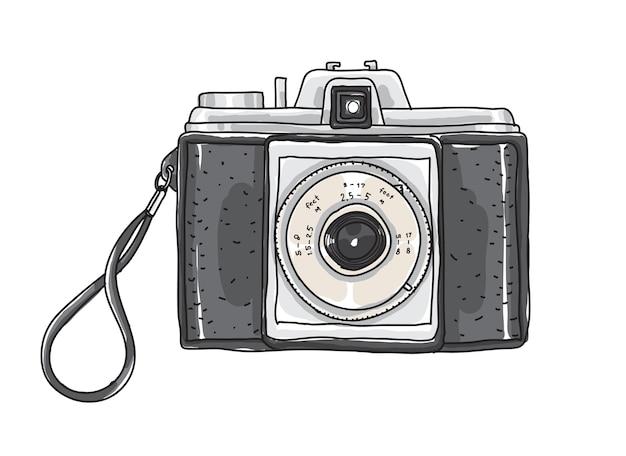 Camera vintage hand drawn vector art illustration