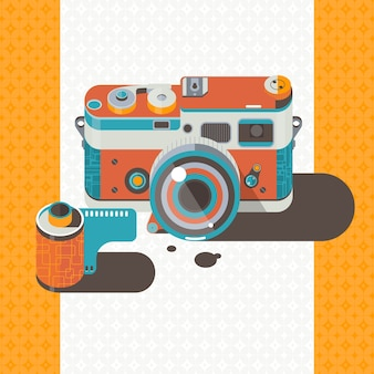 Camera vintage vector photography abstract background