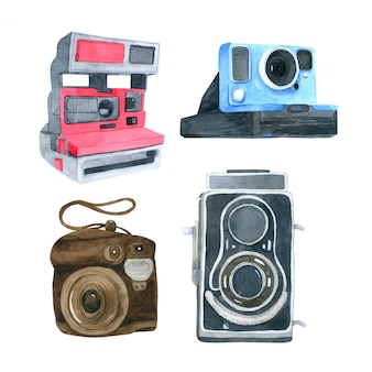 Camera watercolor collection on white background
