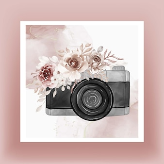 Camera watercolor with flowers brown terracotta