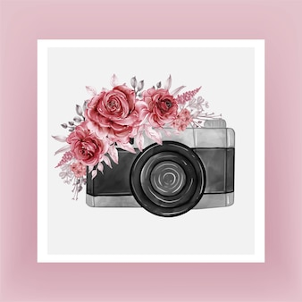 Camera watercolor with flowers burgundy