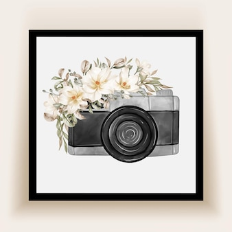 Camera watercolor with flowers white magnolia