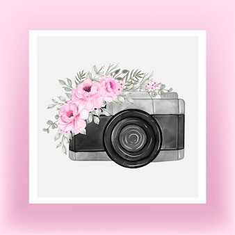 Camera watercolor with rose flower pink peony
