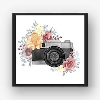 ローズオレンジマルーンとカメラの水彩画