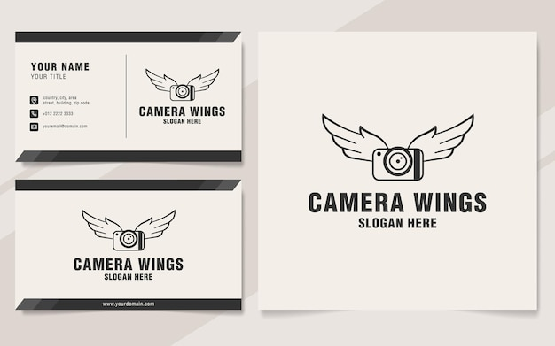 Camera wings logo template on monogram style