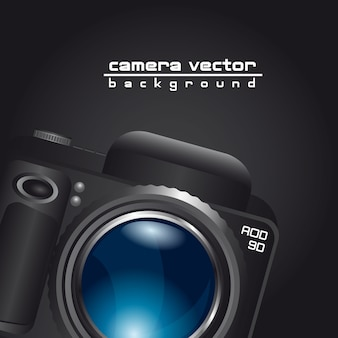 Camera with blue lens with space for copy
