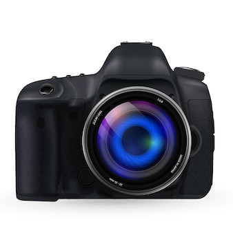Camera with lens frontal view
