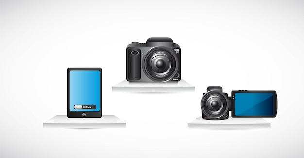 Camera with phohe and video  over shelf vector illustration