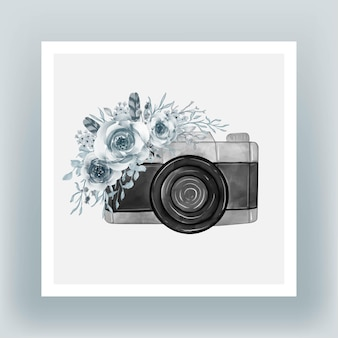 水彩花士官候補生の青いイラストとカメラ