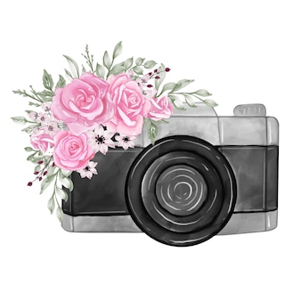 Camera with watercolor flowers rose pink illustration