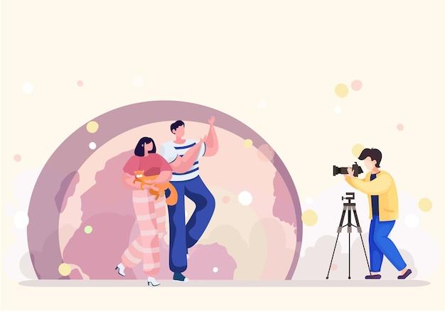 カメラマンは公園でプロのペット写真サービスを提供しています。猫と月を背景にしたカップルの夜の写真撮影。恋愛中のカップルが猫を撃つ