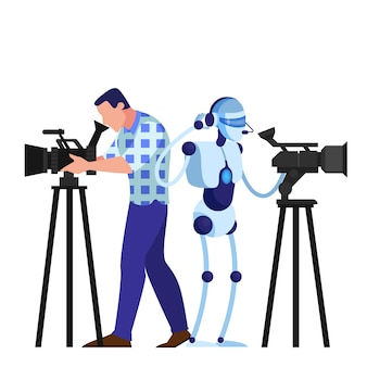 Cameraman and robot shooting movie. video equipment, televesion occupation. artificial intelligence.    illustration