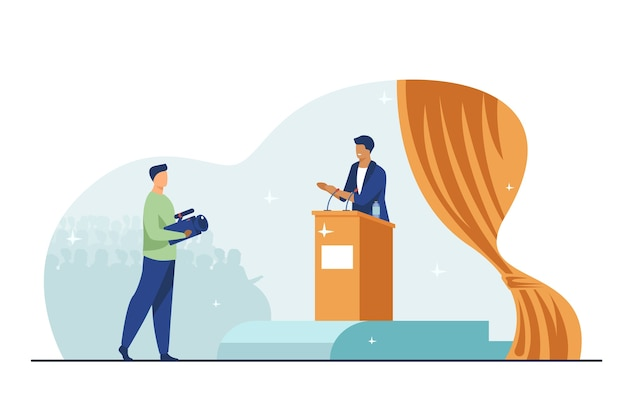 Cameraman shooting speaker on stage. politician speaking on rostrum before audience flat vector illustration. spokesman, election campaign concept