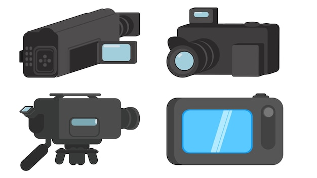 Cameras isolated vector illustration