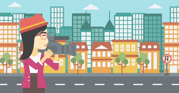 Camerawoman with video camera vector illustration.