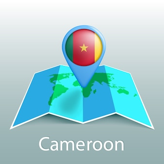 Cameroon flag world map in pin with name of country on gray background