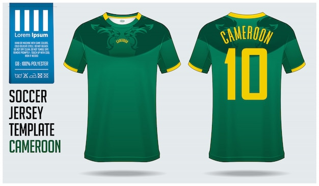 Cameroon soccer jersey mockup or football kit template.