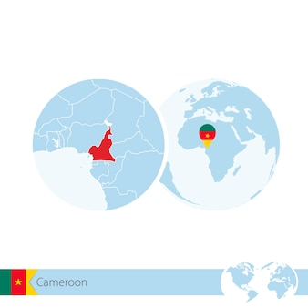 Cameroon on world globe with flag and regional map of cameroon. vector illustration.