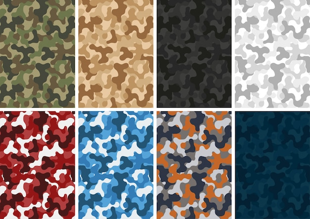 Camouflage army pattern different colors set