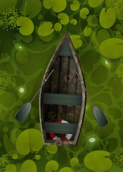 Camouflage boat floats through the swamp with water lily leaves