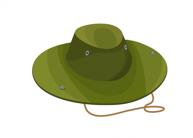 Camouflage hat isolated icon in cartoon style