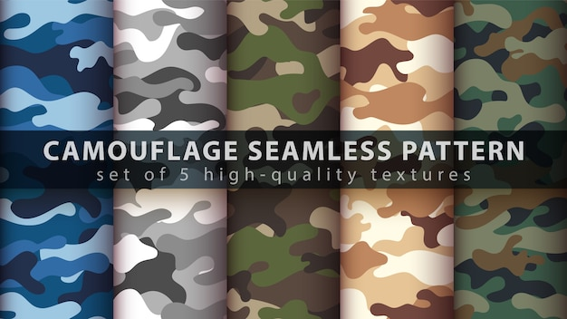 Camouflage military set seamless pattern