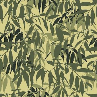 葉とシームレスなパターンをカモフラージュします。小枝とミリタリー迷彩の背景。ファブリック、テキスタイル、壁紙などのデザイン。ベクトルイラスト。