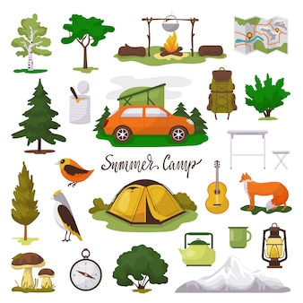 Camp adventure  illustration icons set, cartoon  tourist camping equipment, map, tent and campfire  on white