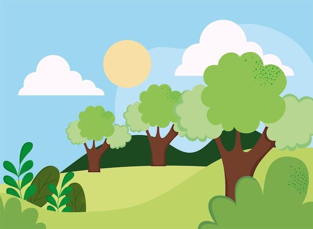 캠프와 나무 자연 현장
