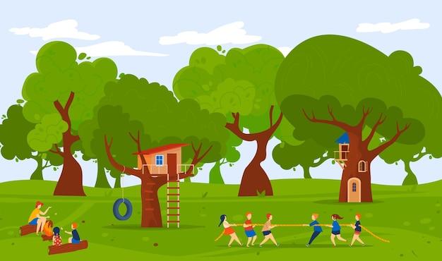 Лагерь в лесной природе летом на открытом воздухе векторная иллюстрация плоская девочка мальчик персонаж играет в тугофвар вместе дети стоят возле домика на дереве