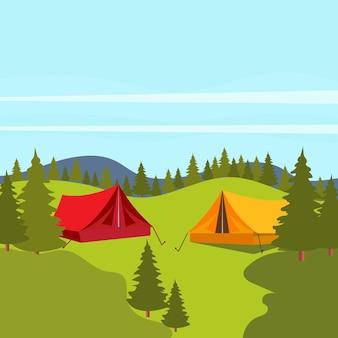 캠프 요소 벡터 아이콘 디자인 일러스트 템플릿