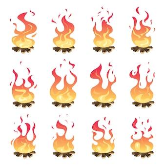 Camp fire animation. outdoor fireplace hiking bonfire burn