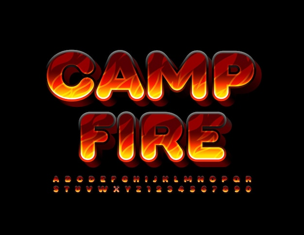 Camp fire with flaming textured font set of hot alphabet letters and numbers