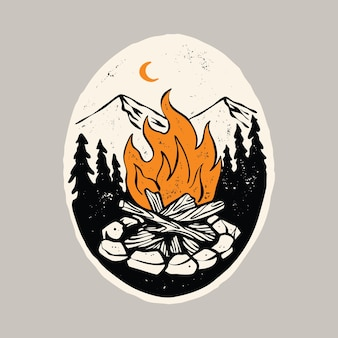 Camp hike fire and beauty nature graphic illustration art t-shirt design