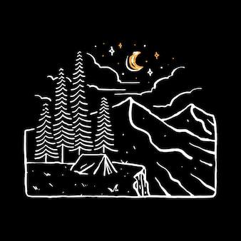 Camp hike nature wild line graphic illustration art t-shirt design