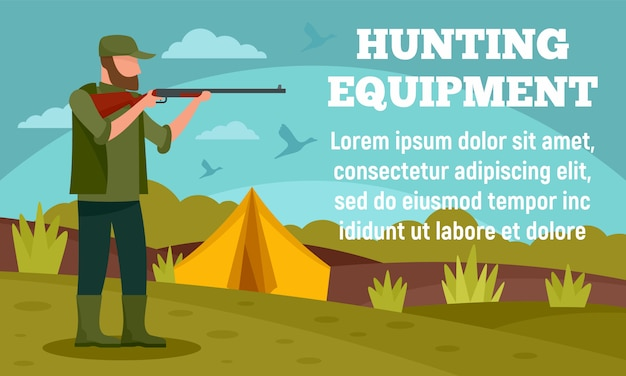 Camp hunter equipment banner, flat style