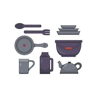 Camp kitchen utensils vector set ib cartoon style. camping dishes illustration.