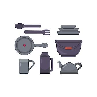 Лагерь кухонная утварь векторный набор ib мультяшном стиле. кемпинг посуда иллюстрации.