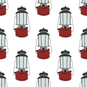 Camp lantern seamless pattern.