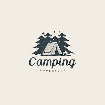 Camp in the middle of the forest logo template