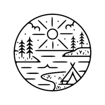Camp monoline vintage outdoor badge design