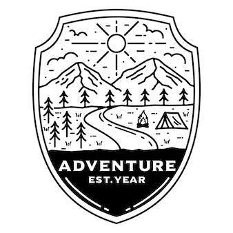 캠프 monoline 빈티지 야외 배지 디자인