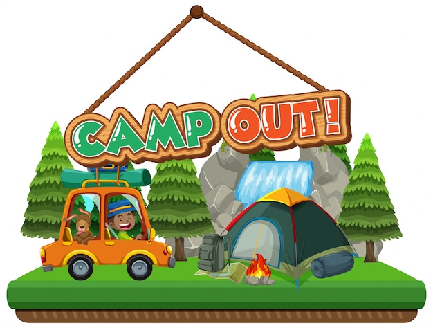 Camp out with tent in the park