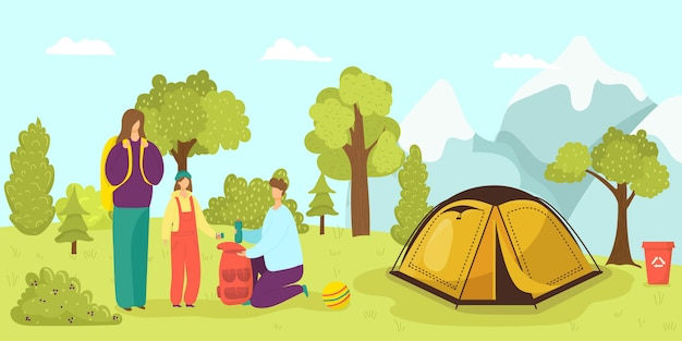 Camp tent in forest, family at summer nature  illustration.  tourism activity at vacation. cartoon adventure leisure. man woman people outdoor travel, holiday journey landscape.