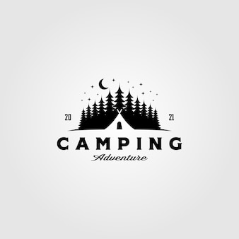 松の木のビンテージテンプレートのキャンプテントのロゴ